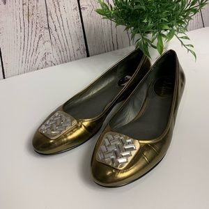 Cole Haan Nike air gold flats with diamond toe